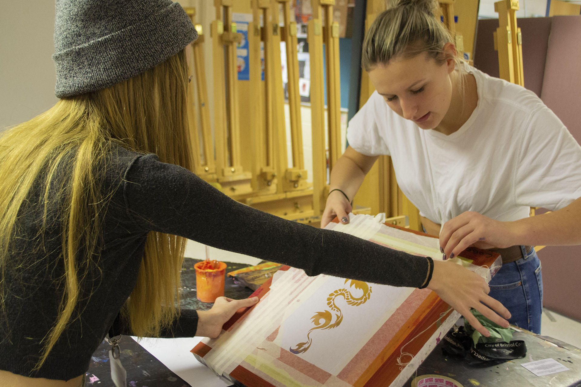Art and Design Students working together at College Green Centre