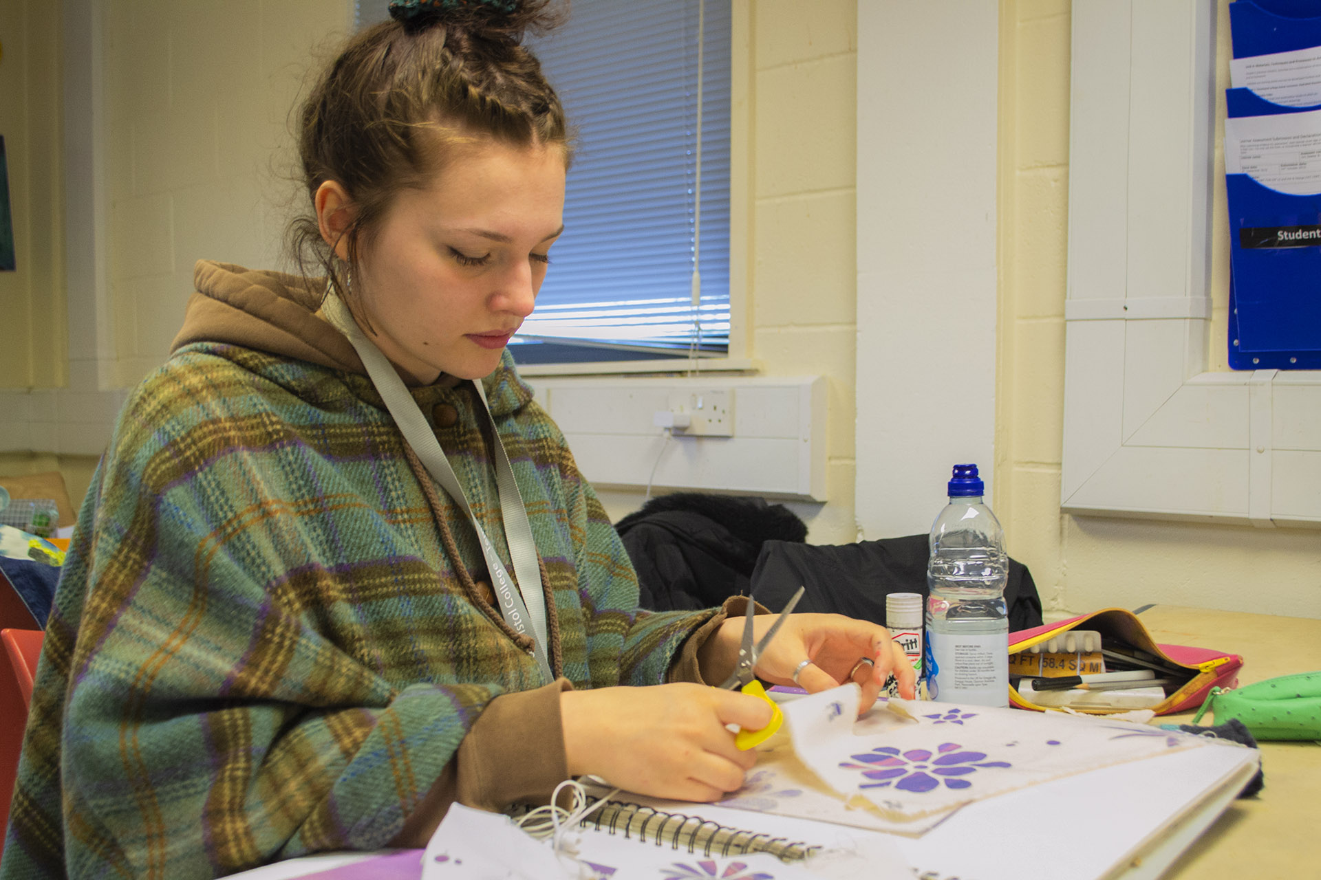 School leaver and young student studying art and design