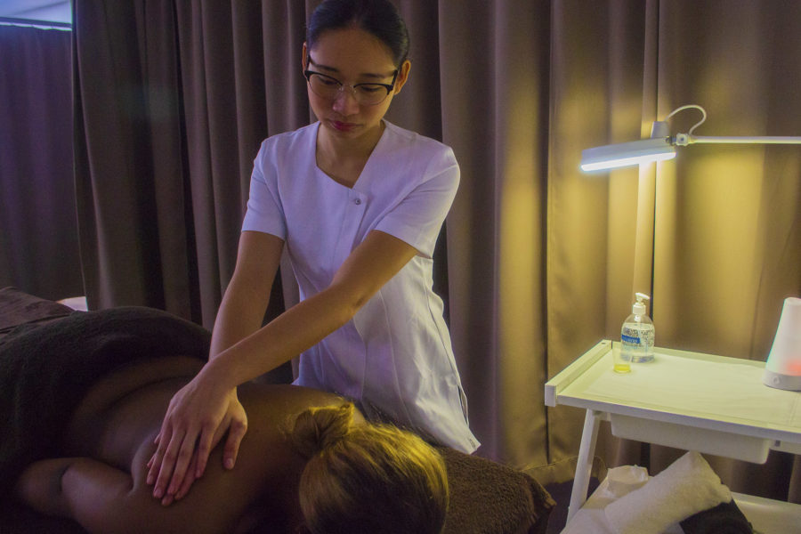 Beauty Therapy. Student giving a massage