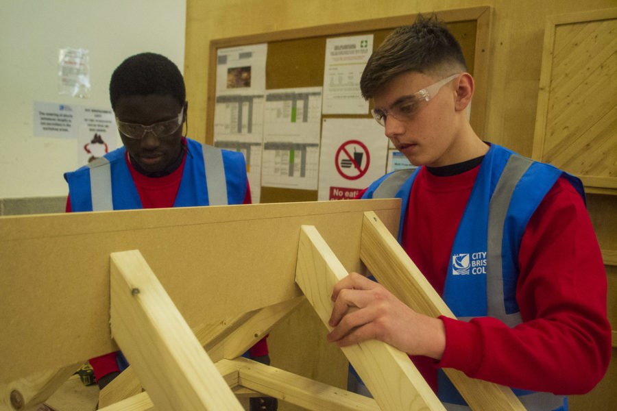 Carpentry. Students woodworking.