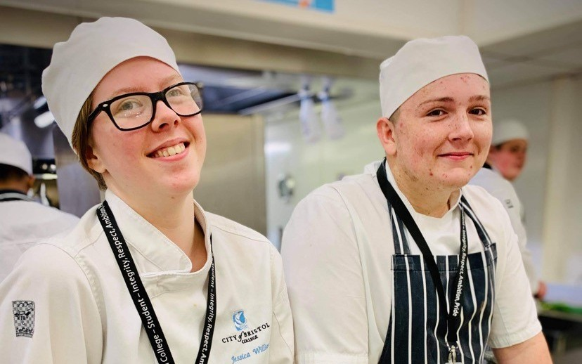 Catering students in chef's uniform