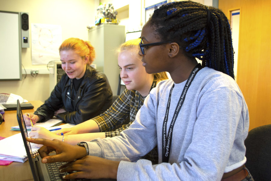Childcare. Students in classroom, working