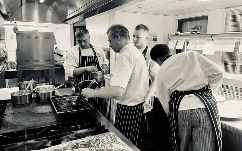 City of Bristol College catering course students in kitchen