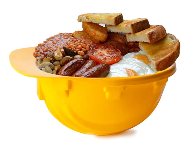 Safety helmet with cooked breakfast