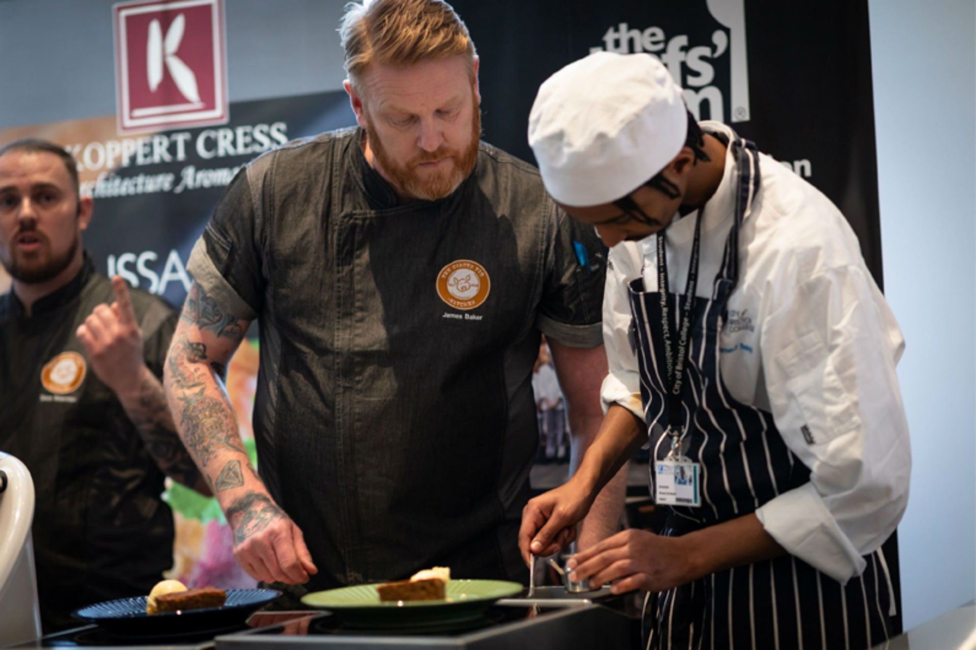 Dave and James from The Ginger Pig working with Ahmed Ali Bekhit on dessert.