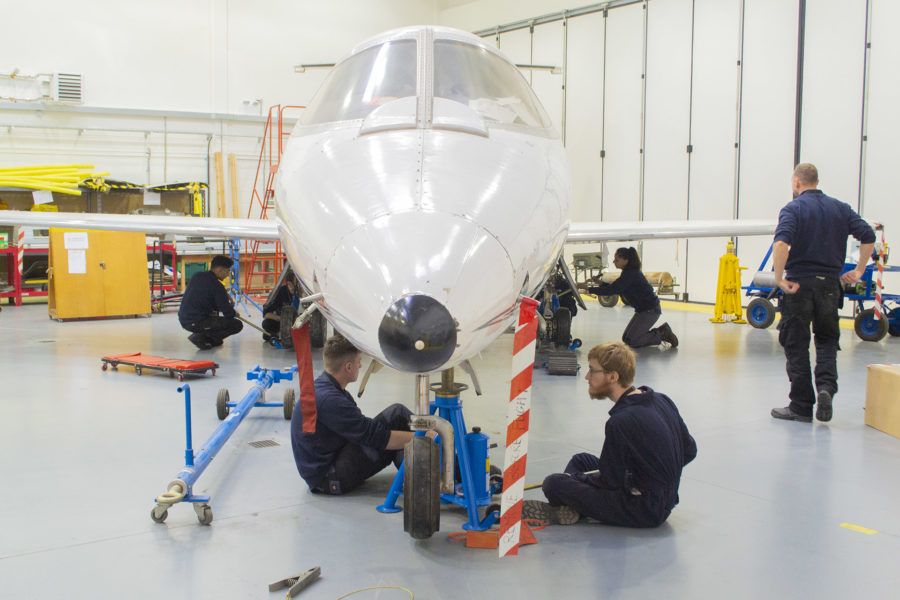 Engineering students working on an EASA course
