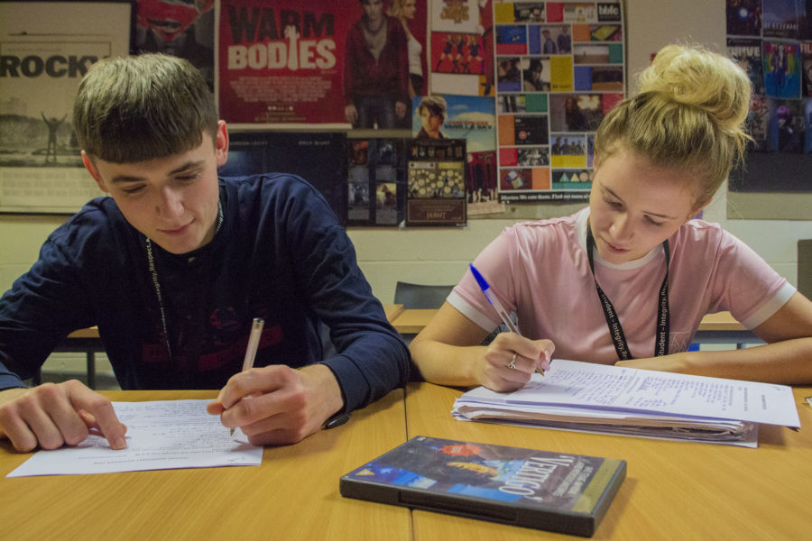 Students working at desk at College Green Centre on Film Studies A Level Course