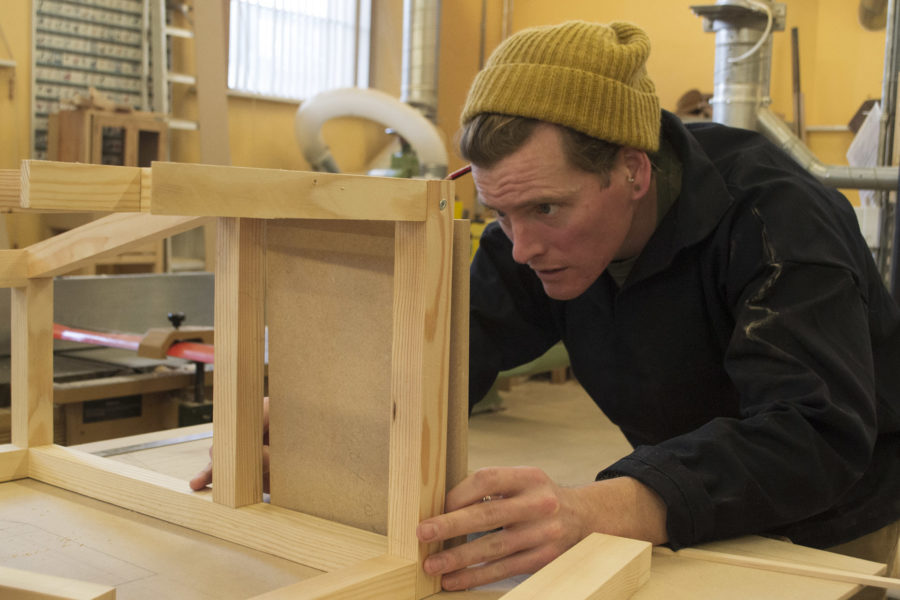 Student making furniture