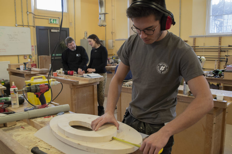 Students making furniture in a City of Bristol College workshop