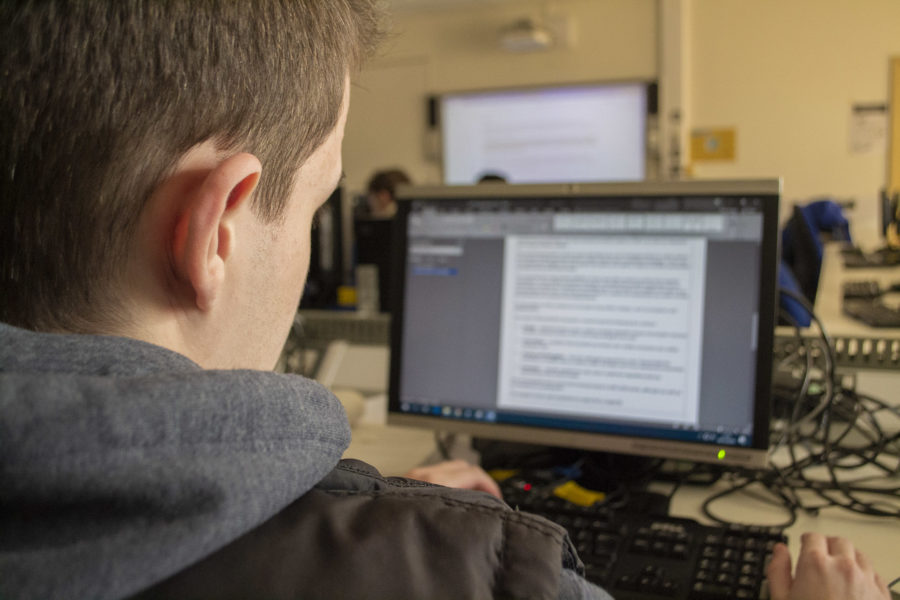 Student working at computer