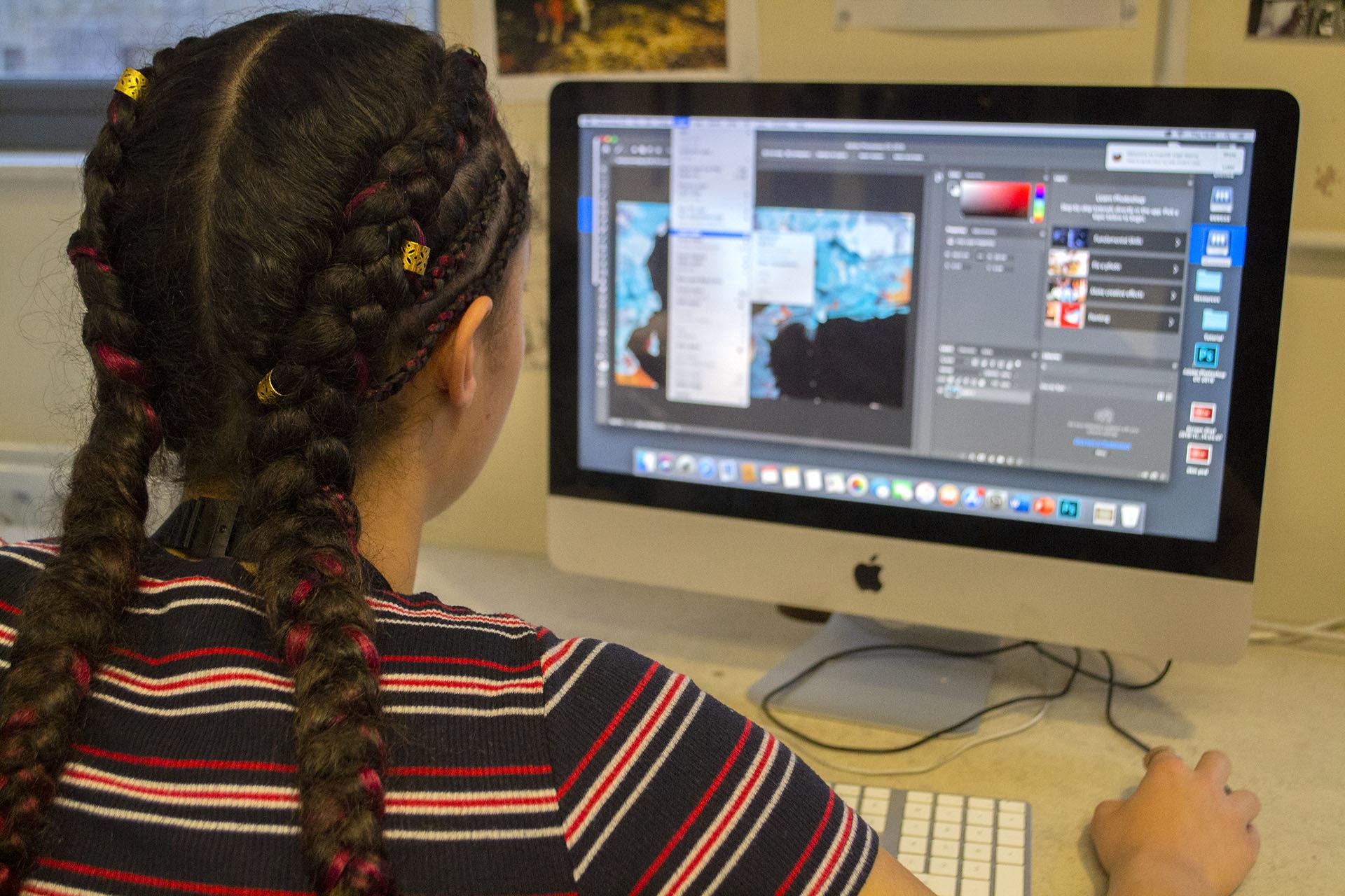 Graphic Design - Student using photoshop
