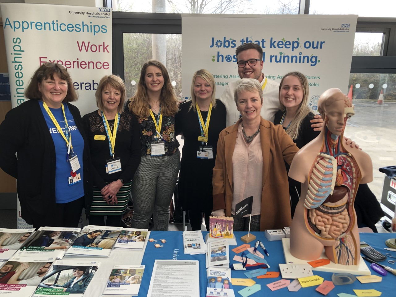 Karin Smyth MP with the NHS apprenticeships team at the 2019 fair