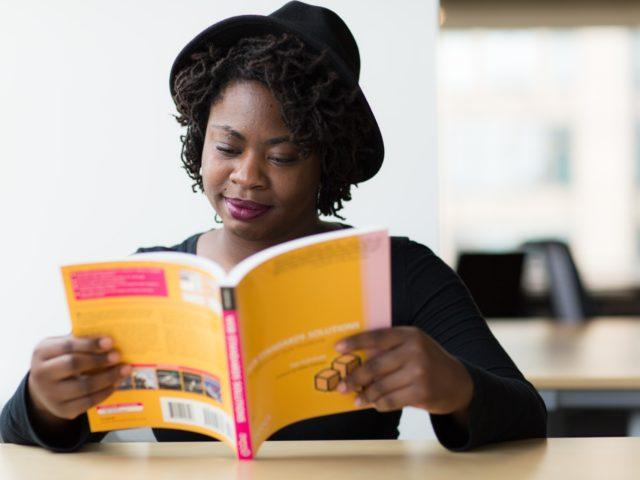 Study centre student reading