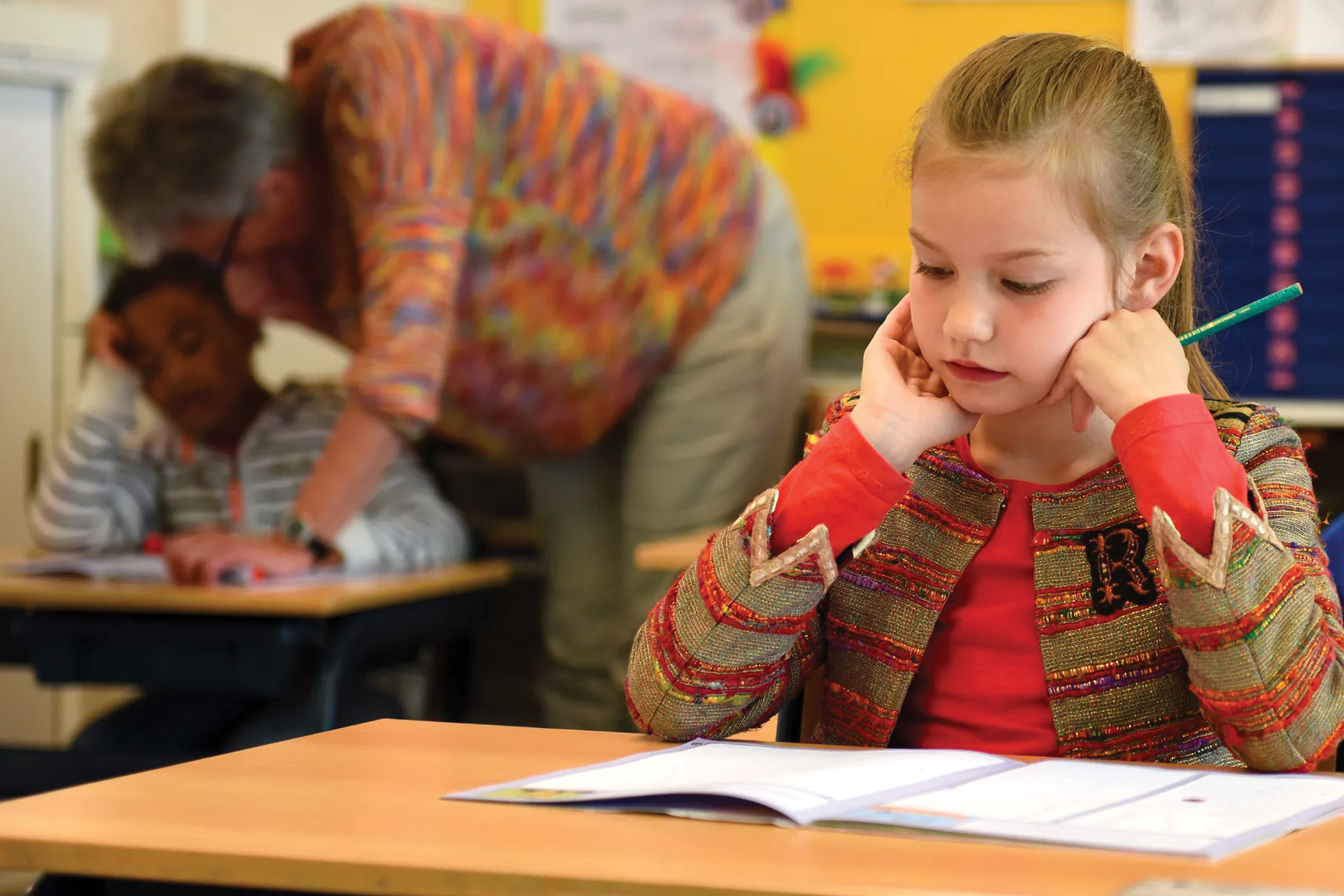 Child in classroom during student's work experience