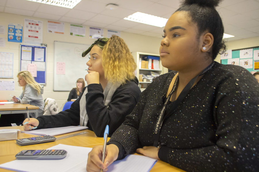 Maths students in City of Bristol College classroom at College Green Centre