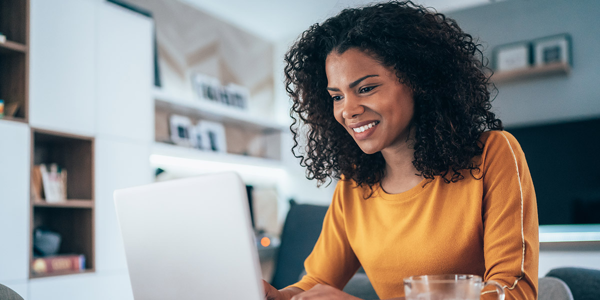 Mindful women on computer