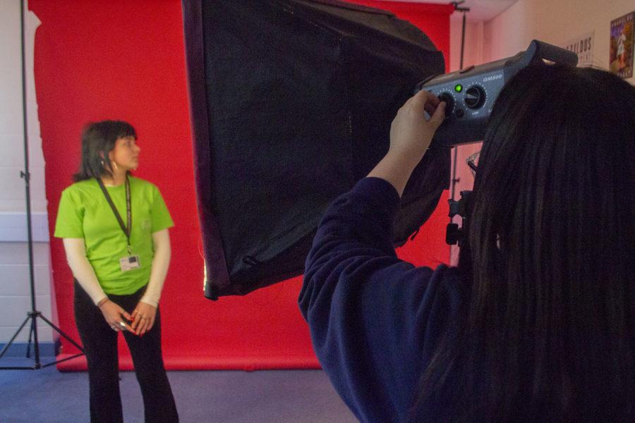 Photography. Student lighting model in studio