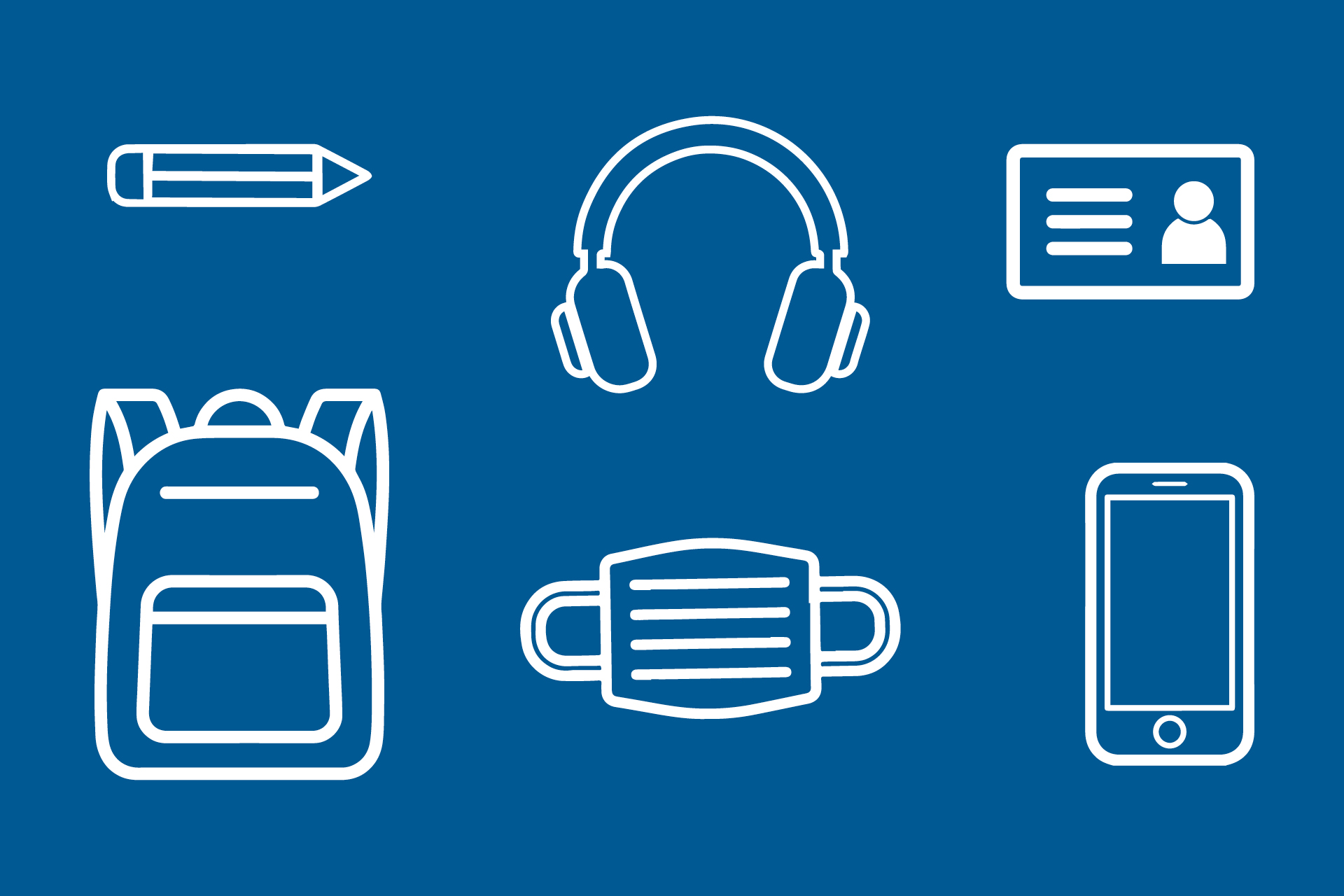 Student graphic with bag contents icons