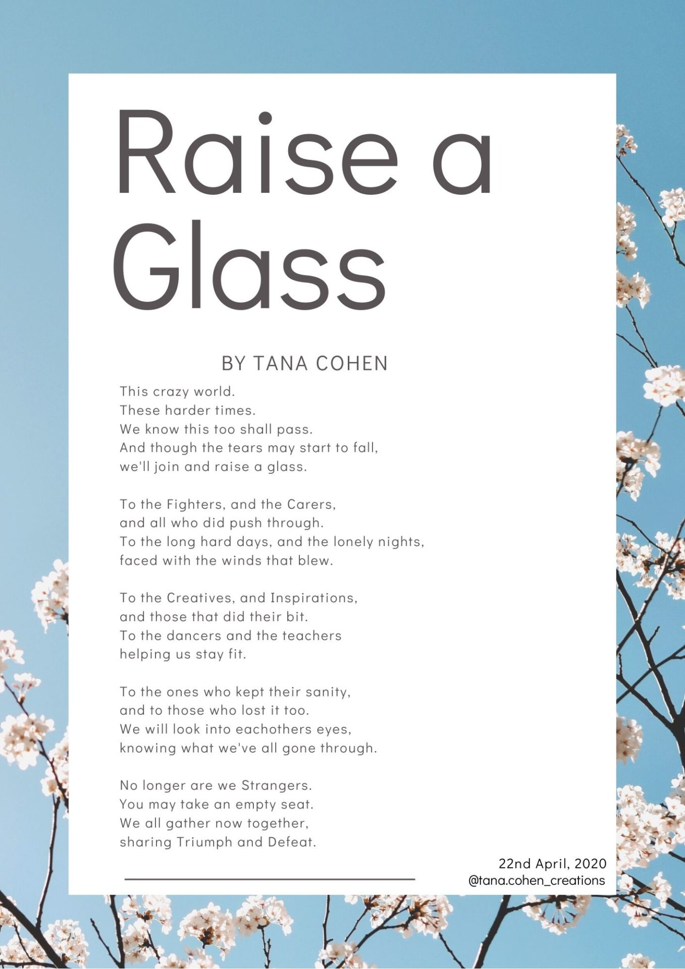 A poem written by Tana looking back over the lockdown.