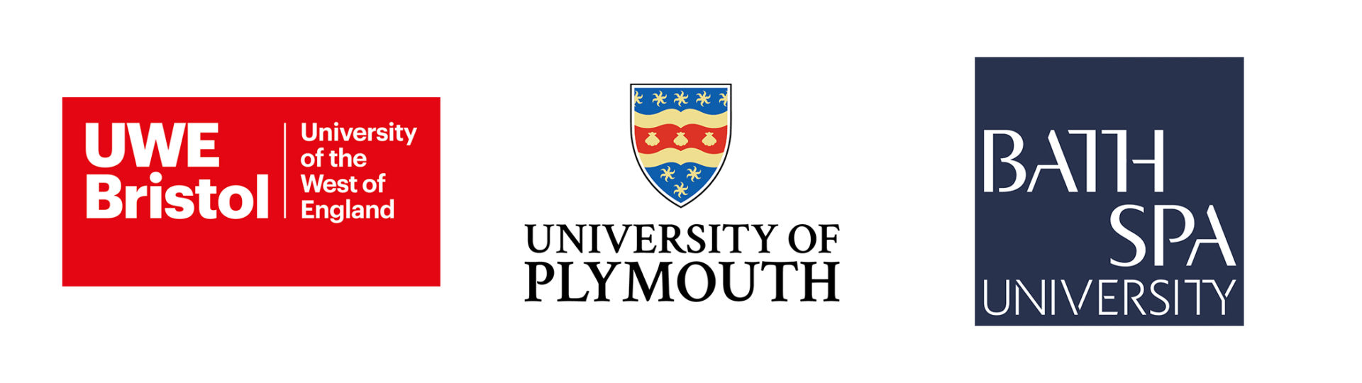 University of the West of England, University of Plymouth and Bath Spa University logos