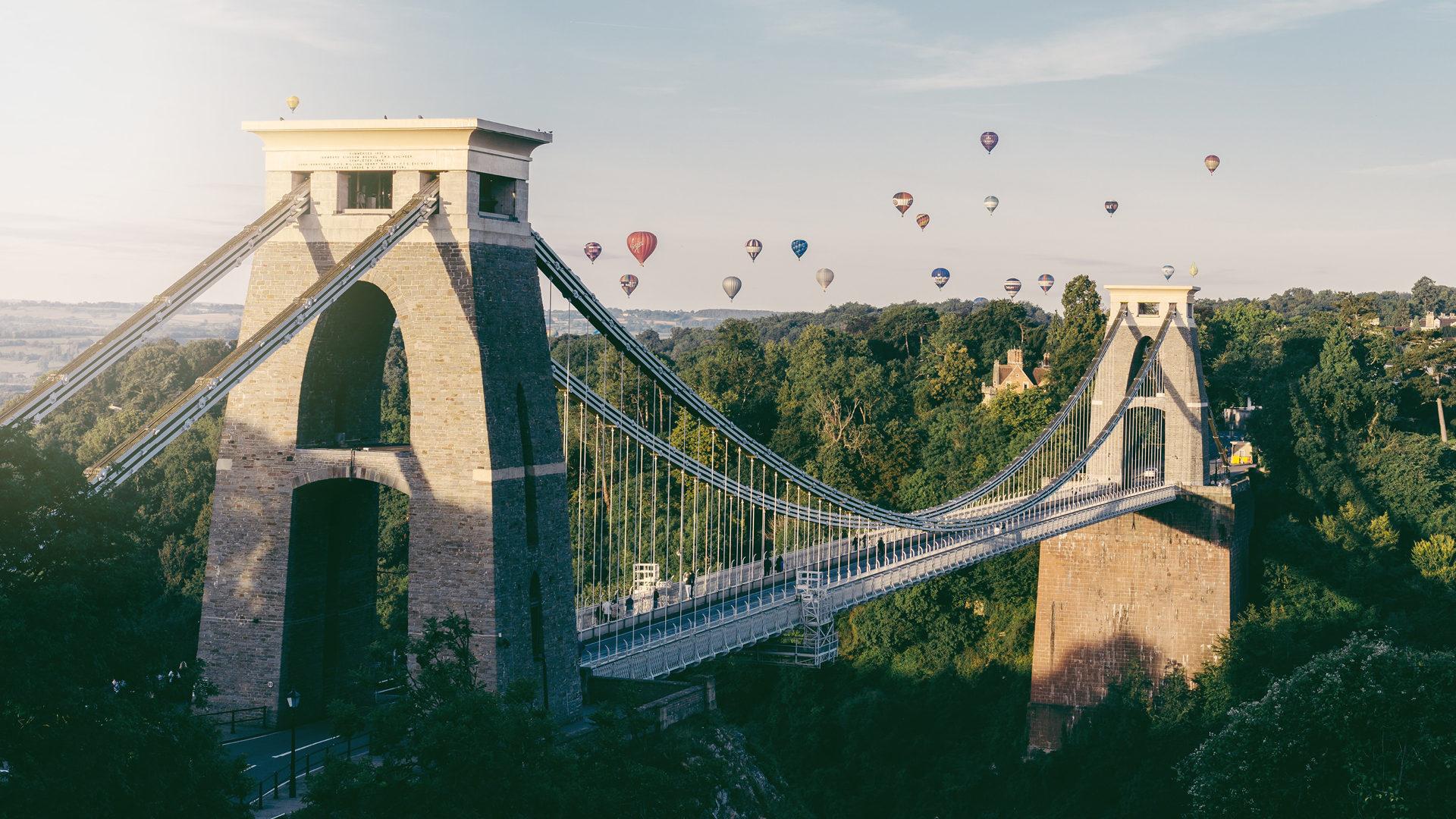 Bristol Suspension Bridge with balloons