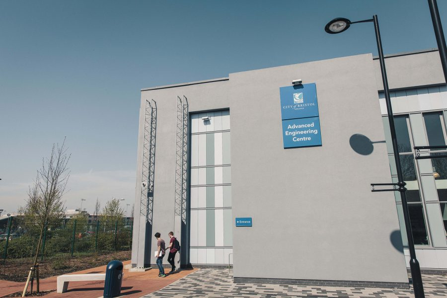 Outside shot of the main building at AEC Campus