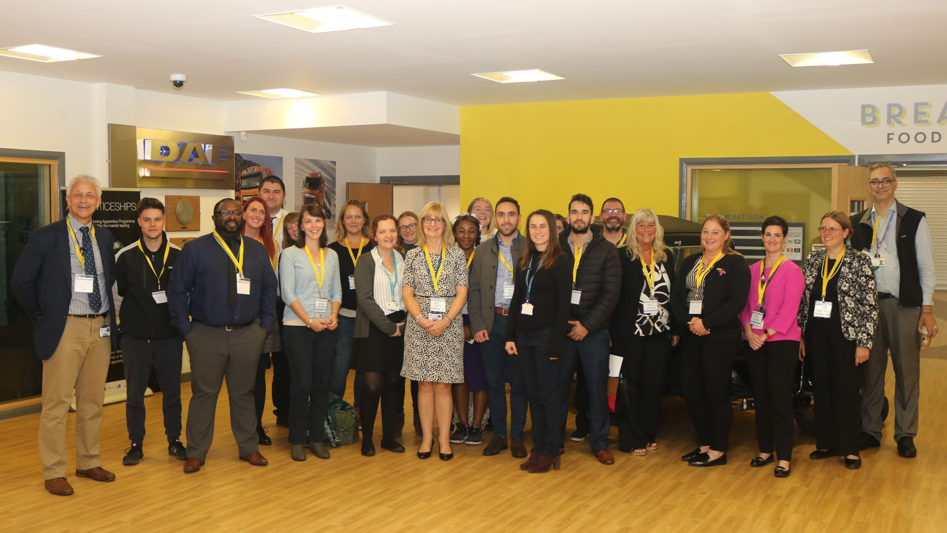 Group shot of staff members at careers event, Ambitions