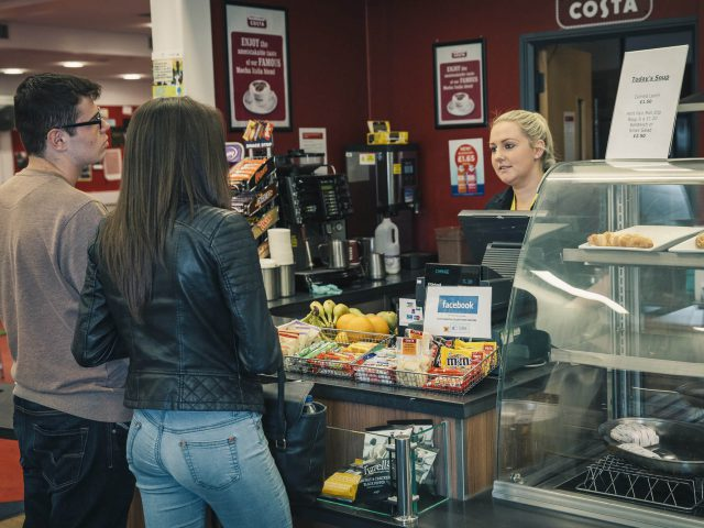 Two students buy coffee from Costa in Ashley Down