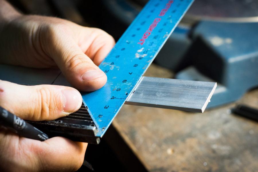Ruler measuring construction materials