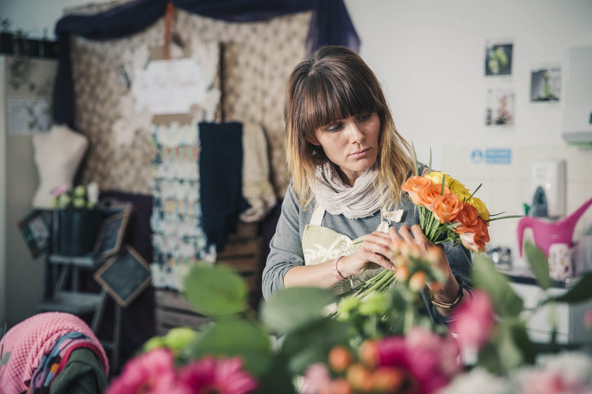 Floristry student, Miroslava Mihalickova arranges flowers