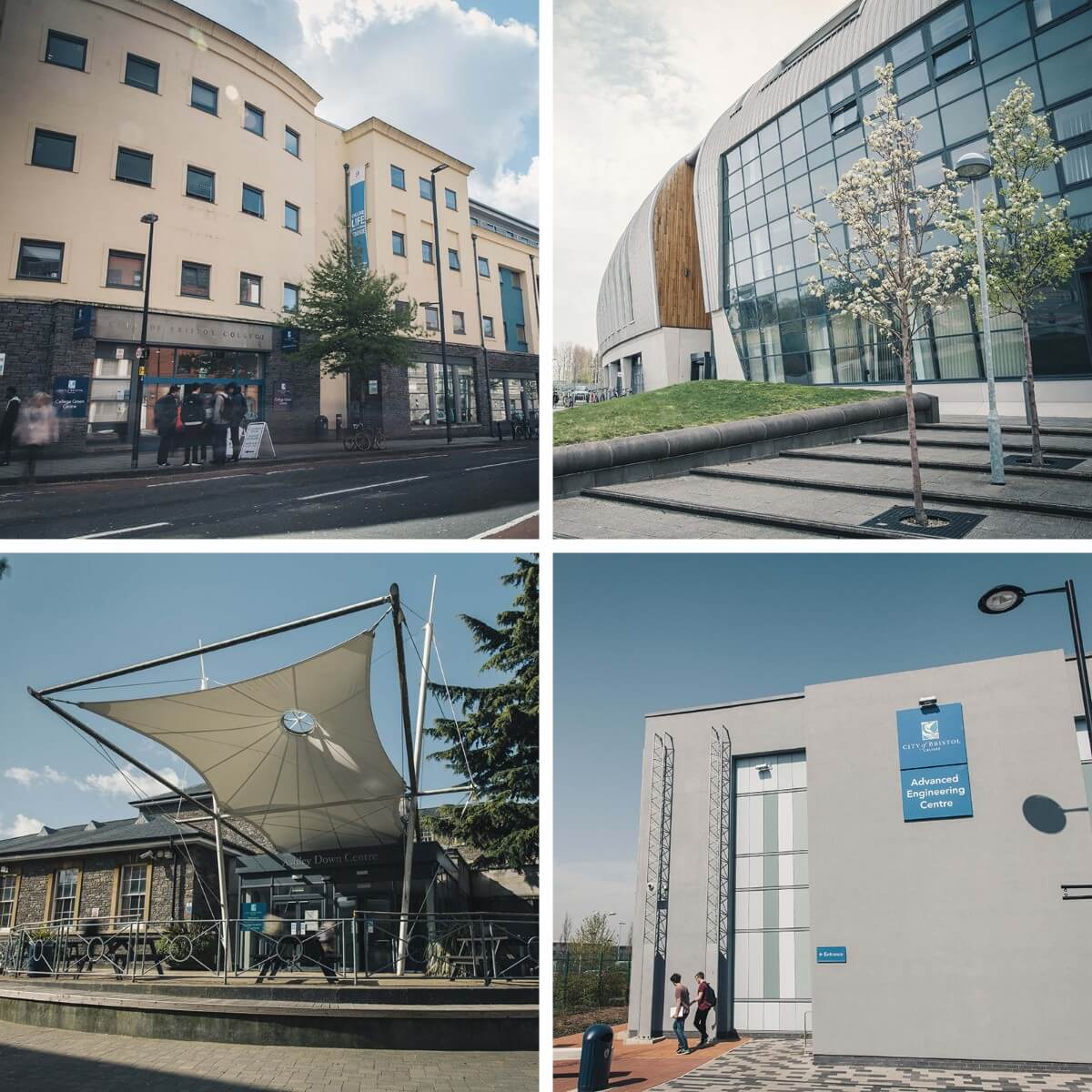 Four-squared image of all the City of Bristol College campuses