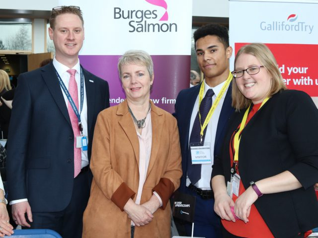 Bristol South MP, Karin Smyth stands with staff and students