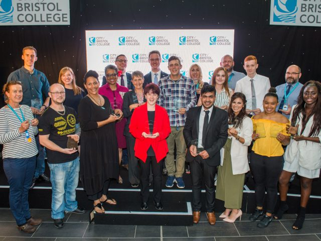 Group shot of winning City of Bristol college students holding their awards