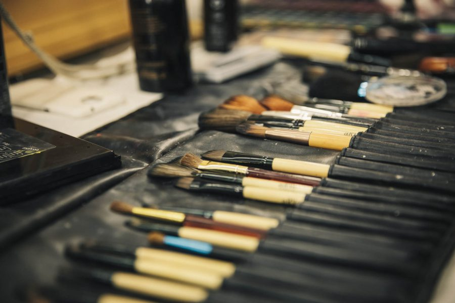 Multiple paintbrushes sit in a case for make-up courses